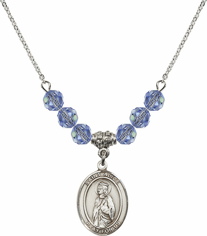 St Alice Swarovski Crystal Beaded Patron Saint Necklace by Bliss Mfg