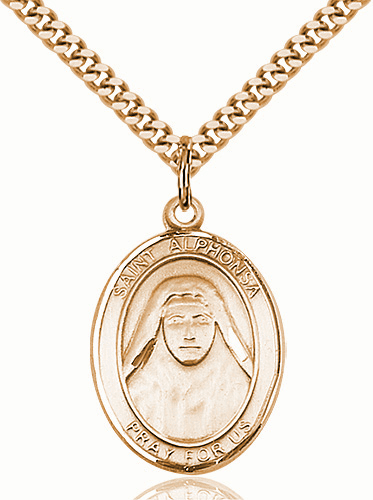 St Alphonsa of India Patron of Illness Gold-Filled Medal Necklace by Bliss