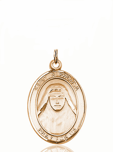 St Alphonsa of India Patron Saint 14kt Gold Medal Pendant by Bliss
