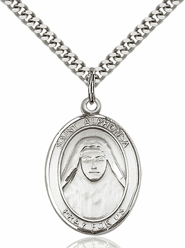 St Alphonsa Pewter Patron Saint Necklace by Bliss Mfg