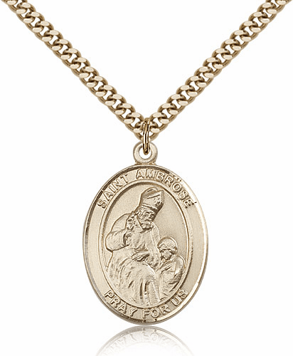 St Ambrose 14kt Gold Filled Saint Medal Necklace by Bliss Manufacturing