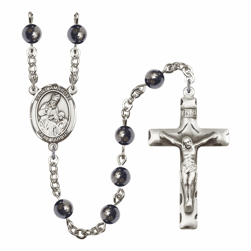 St Ambrose 6mm Hematite Gemstone Rosary by Bliss Mfg