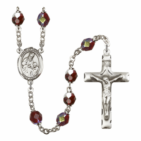 St Ambrose 7mm Lock Link AB Garnet Rosary by Bliss Mfg