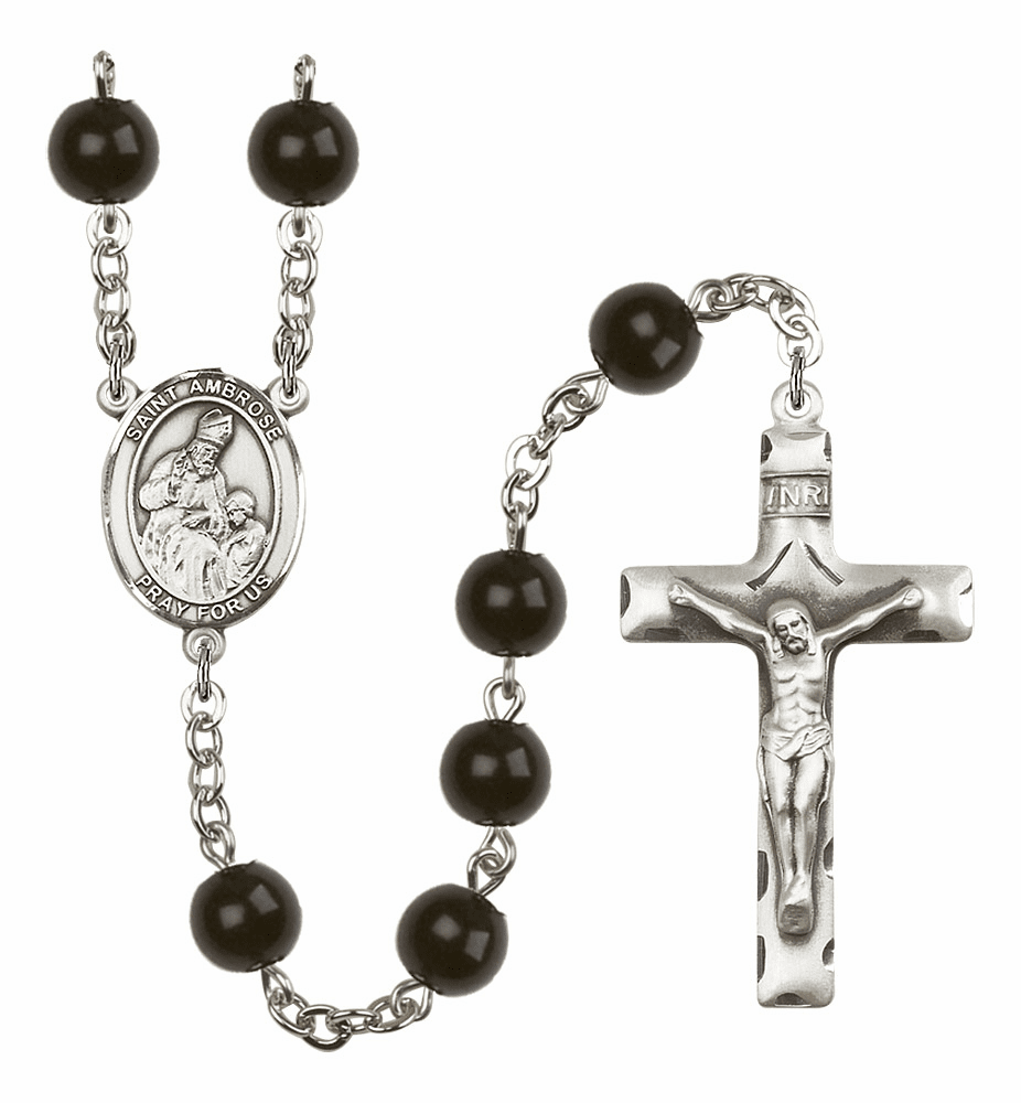 Bliss Mfg St Ambrose Silver 7mm Black Onyx Rosary