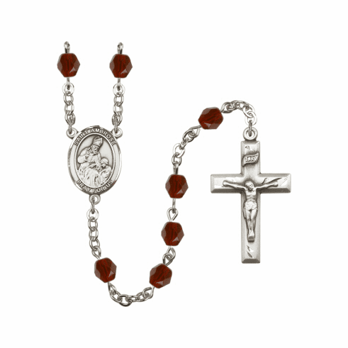 "Bliss St Ambrose Silver Plate Birthstone Crystal Prayer Rosary ""More Colors"""