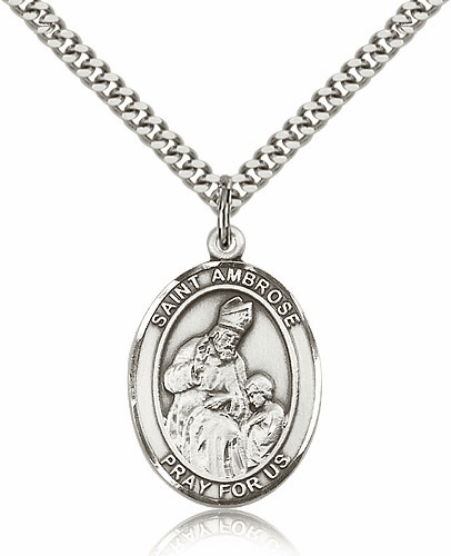 Bliss Manufacturing St Ambrose Sterling Silver Saint Medal Necklace