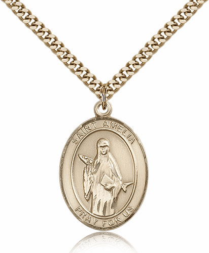 St Amelia Gold Filled Saint Medal Necklace by Bliss Manufacturing