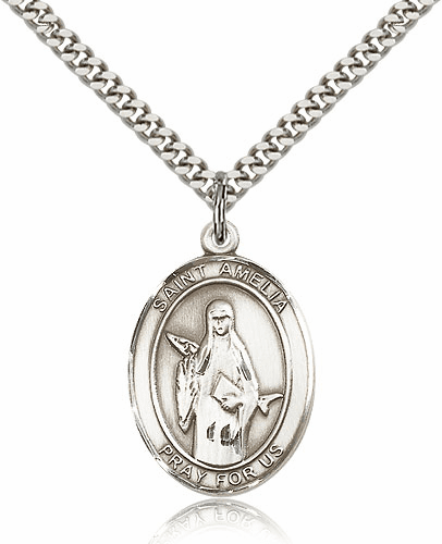 St Amelia Sterling Silver Saint Medal Necklace by Bliss