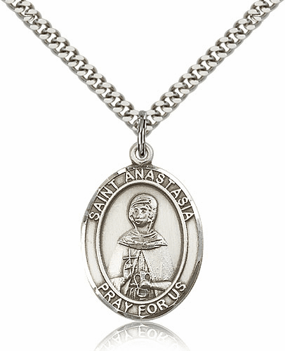 St Anastasia of Sirmium Sterling-Filled Patron Saint of Widows Medal Necklace by Bliss
