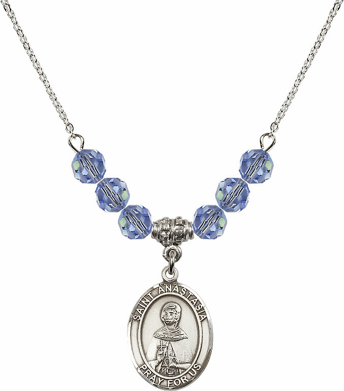 St Anastasia Swarovski Crystal Beaded Patron Saint Necklace by Bliss Mfg
