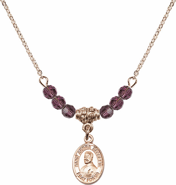 St Andre Bessette 4mm Swarovski Crystal February Amethyst Necklace by Bliss Mfg