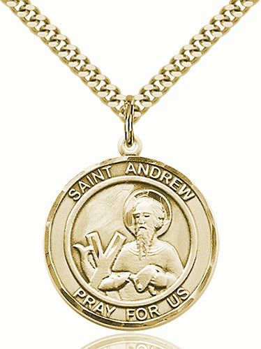 St Andrew Large Patron Saint 14kt Gold-filled Medal by Bliss