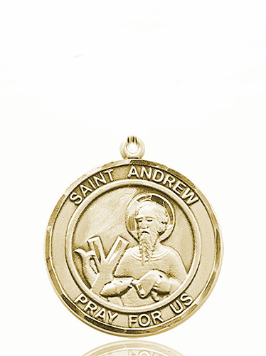 St Andrew Large Patron Saint 14kt Gold Medal by Bliss