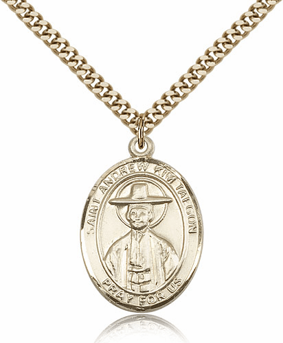 St Andrew of Kim Taegon Patron Saint Medal Necklace