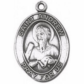 St Andrew Oval Sterling Silver Medal by Jeweled Cross
