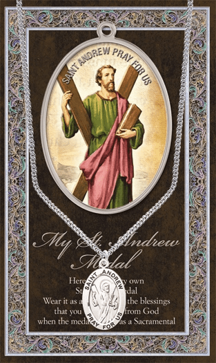 St Andrew Pewter Patron Saint Medal Necklace with Prayer Pamphlet by Hirten