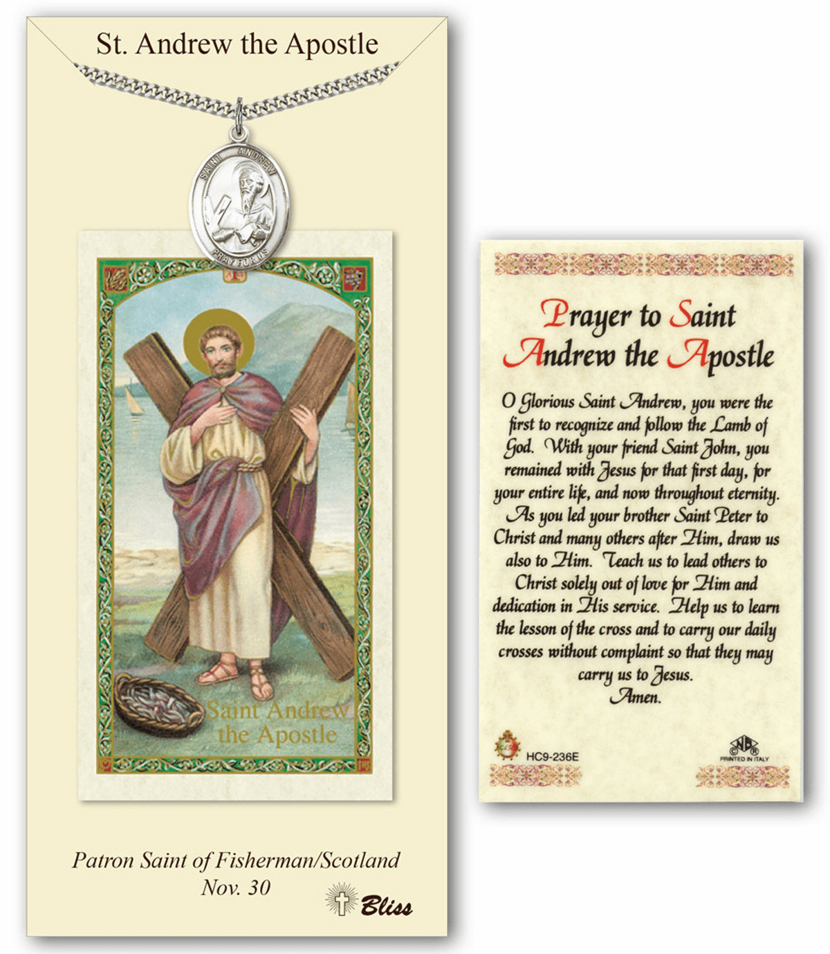 Bliss Mfg St Andrew Prayer Card & Pendand Gift Set