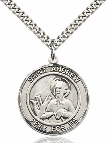 St Andrew Round Patron Saint Medal Necklace by Bliss