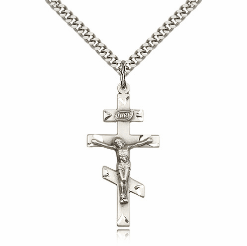 St Andrew Sterling Silver Greek Orthodox Crucifix Necklace