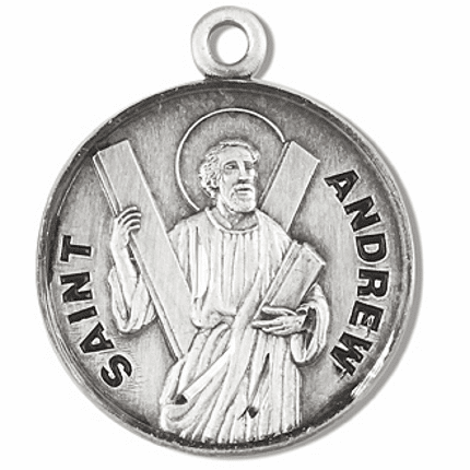 St Andrew Sterling Silver Patron Saint Necklace by HMH Religious