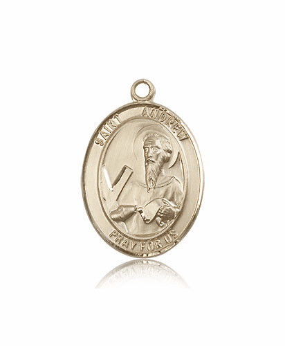 St Andrew the Apostle 14kt Gold Saint Medal Pendant by Bliss