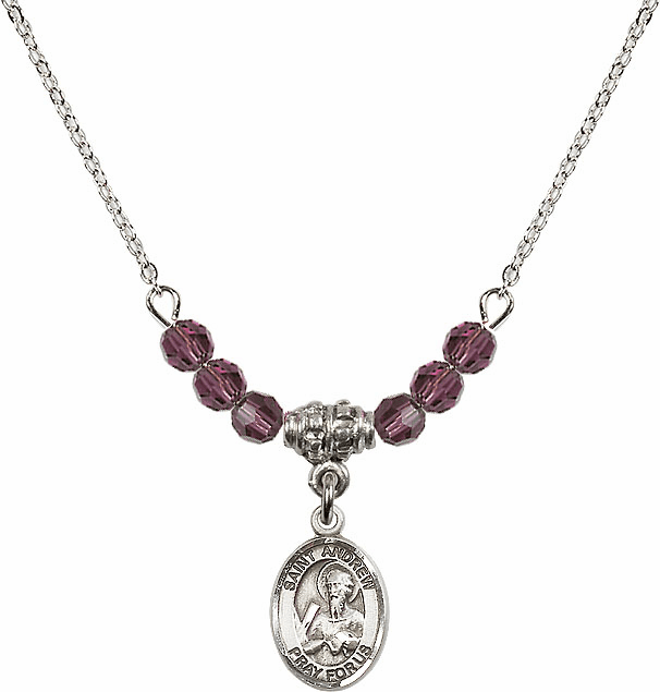 St Andrew the Apostle 4mm Swarovski Crystal Saint Necklace by Bliss Mfg