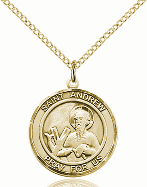St Andrew the Apostle Medium Patron Saint 14kt Gold-filled Medal by Bliss