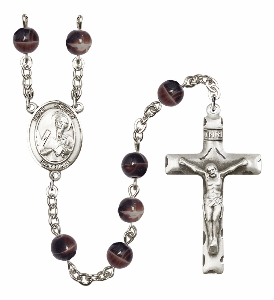 St Andrew the Apostle Silver Plate 7mm Brown Gemstone Prayer Rosary by Bliss