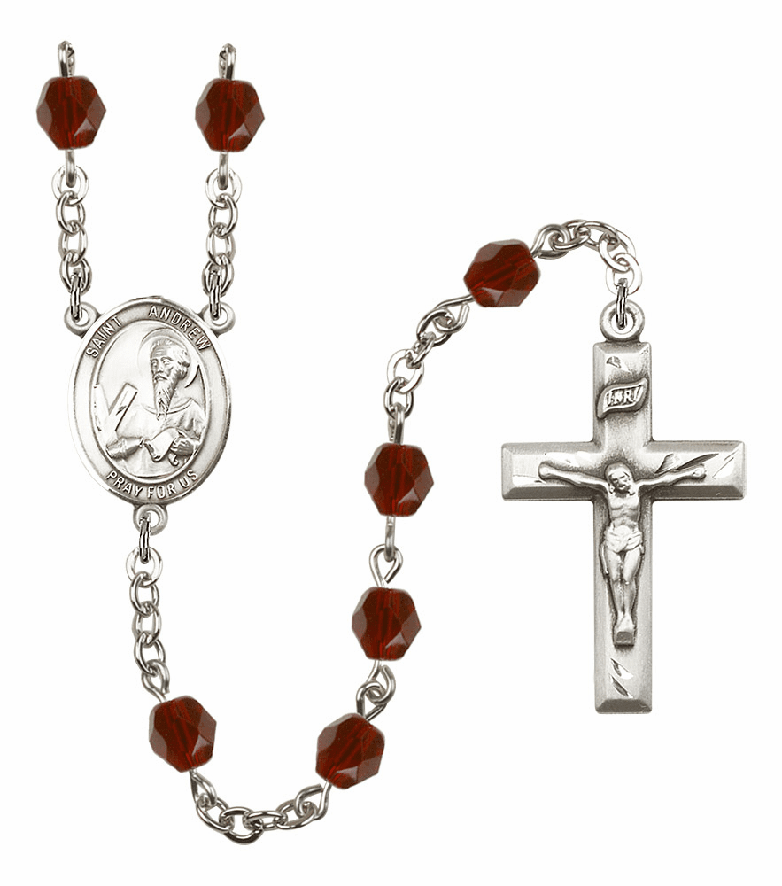 St Andrew the Apostle Silver Plate Birthstone Crystal Prayer Rosary by Bliss