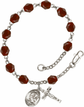St Andrew the Apostle Silver Plate Birthstone Rosary Bracelet by Bliss