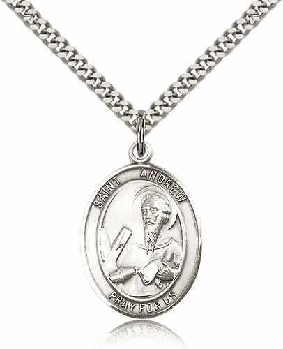 St Andrew the Apostle Sterling Silver Saint Medal Necklace by Bliss
