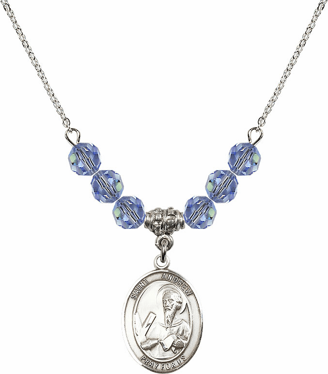 St Andrew the Apostle Swarovski Crystal Beaded Patron Saint Necklace by Bliss Mfg