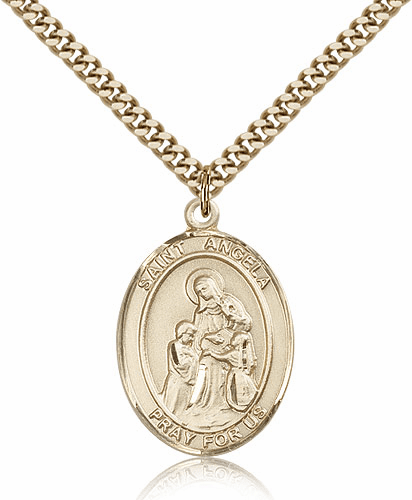 St Angela Merici Gold Filled Saint Medal by Bliss Manufacturing