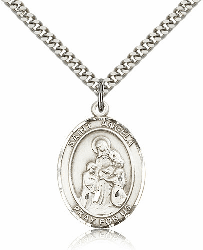 St Angela Merici Sterling-Filled Patron Saint Handicapped People Medal Necklace by Bliss