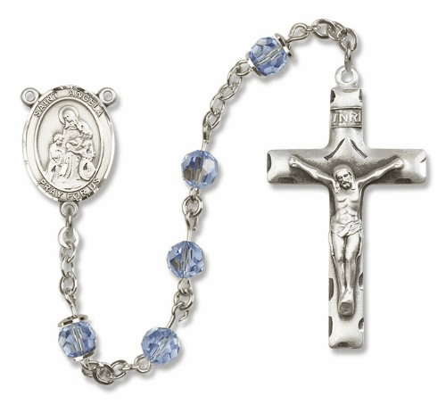 St Angela Merici Swarovski Crystal Patron Saint Catholic Prayer Rosary