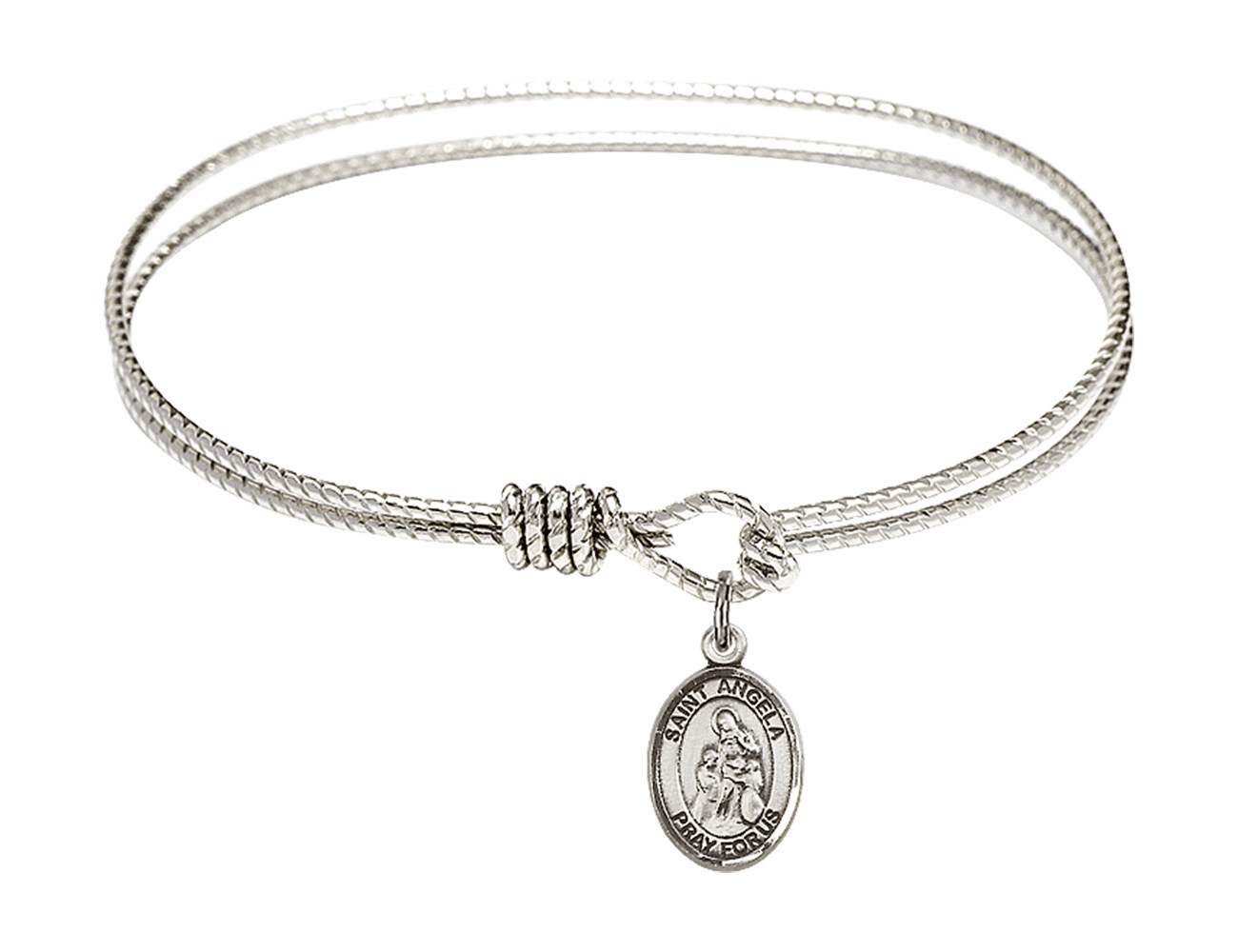 St Angela Merici Textured Bangle w/Sterling Charm Bracelet by Bliss