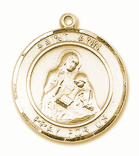 St Ann Large Patron Saint 14kt Gold Medal by Bliss