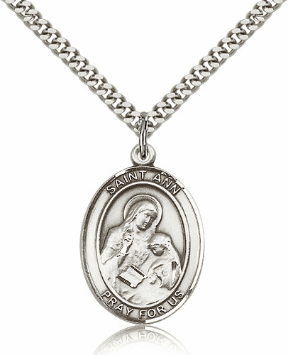 St Ann Sterling-Filled Patron Saint of Mothers Medal Necklace by Bliss