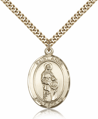 St Anne Patron Saint 14kt Gold Filled Medal Pendant by Bliss