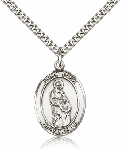 St Anne Patron Saint of Mothers Sterling-Filled Medal Necklace by Bliss