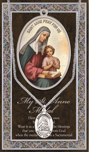 St Anne Pewter Patron Saint Medal Necklace with Prayer Pamphlet by Hirten