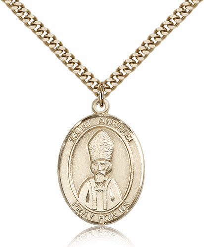 St Anselm of Canterbury Gold Filled Saint Medal