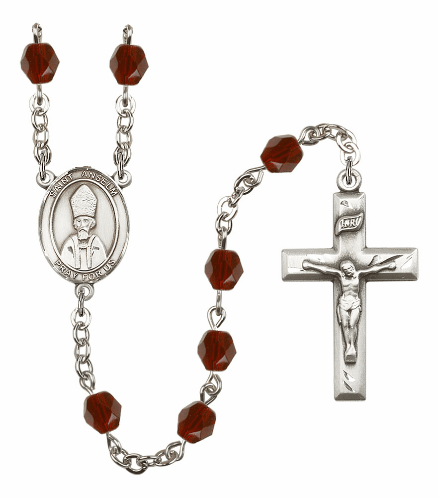 """Bliss St Anselm of Canterbury Silver Plate Birthstone Crystal Rosary """"More Colors"""""""