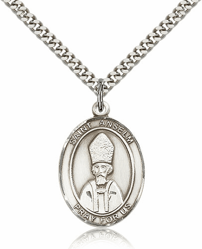 St Anselm of Canterbury Sterling Silver Saint Medal  Necklace by Bliss