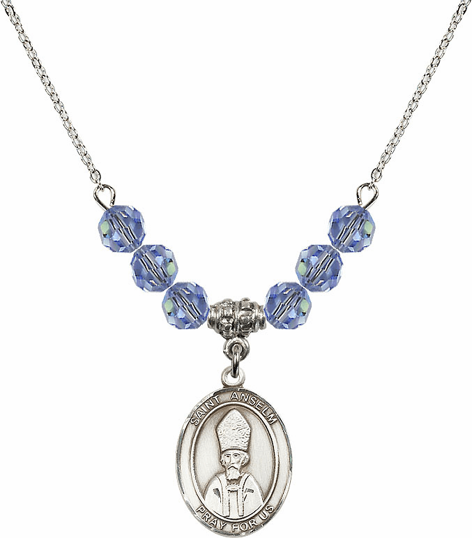 St Anselm of Canterbury Swarovski Crystal Beaded Patron Saint Necklace by Bliss Mfg