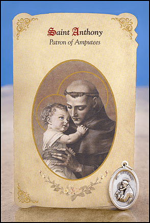 St Anthony Amputees Healing Holy Cards w/Medals 6 pcs by Milagros