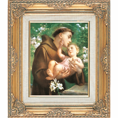St Anthony and Child Jesus under Glass w/Gold Framed Picture by Cromo N B