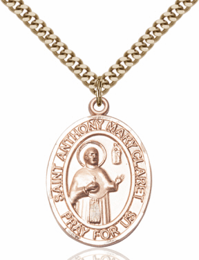 St Anthony Mary Claret 14kt Gold-Filled Patron Saint Medal Necklace w/Chain by Bliss