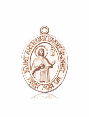 St Anthony Mary Claret 14kt Gold Patron Saint Medal Pendant by Bliss Manufacturing