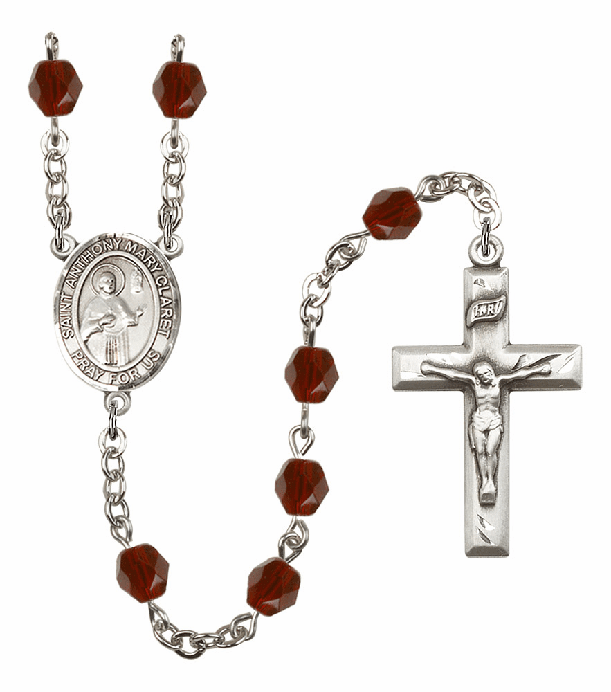 St Anthony Mary Claret Birthstone Crystal Rosary by Bliss - More Colors